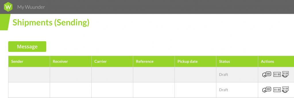 MyWuunder shipments overzicht