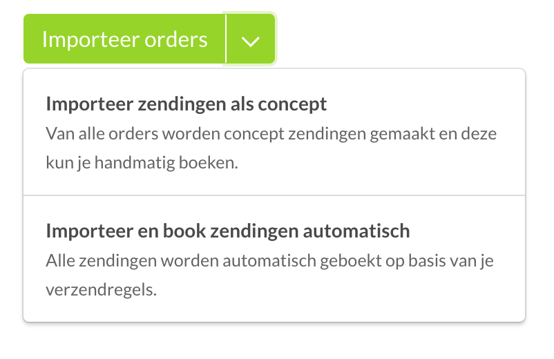Bol.com zendingen importeren